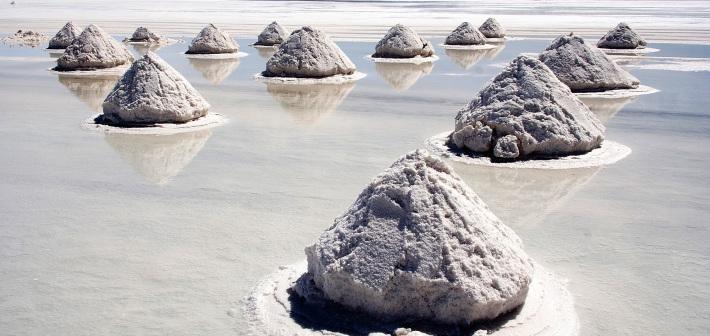 Il suggestivo paesaggio del deserto di sale del Salar de Uyuni, Bolivia