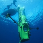 Handout photo of the Deepsea Challenger submersible beginning its first test dive off the coast of Papua New Guinea